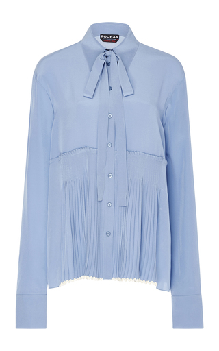 Medium rochas light blue pleated silk blouse