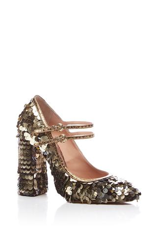 Medium rochas gold paillette embellished mary jane shoe