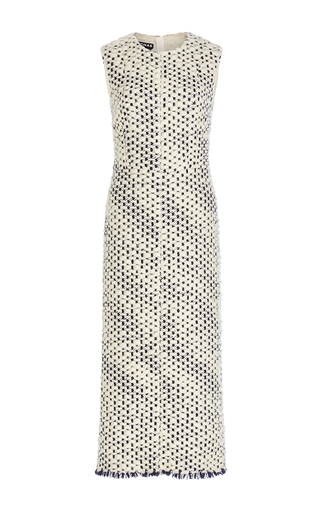 Medium rochas black white sleeveless wool sheath dress