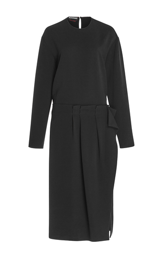 Medium rochas black long sleeve sheath dress