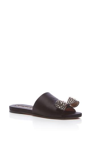 Medium rochas black embellished satin sandal