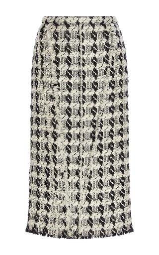 Medium rochas black white tweed wool pencil skirt