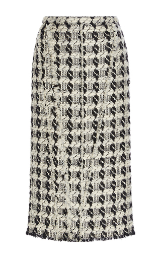 Medium rochas black white tweed wool pencil skirt