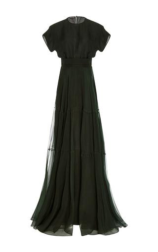 Medium rochas dark green short sleeve a line silk gown