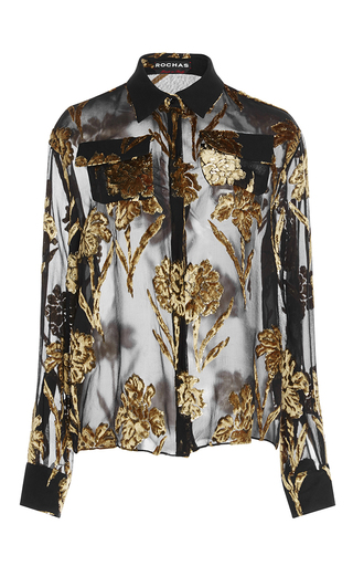 Medium rochas black velvet embellished shirt