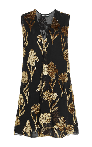 Medium rochas black velvet embellished shift dress