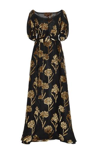 Medium rochas floral velvet embellished gown