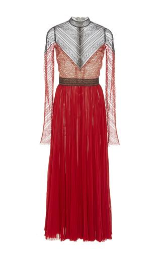 Medium j mendel red silk chiffon tea length dress