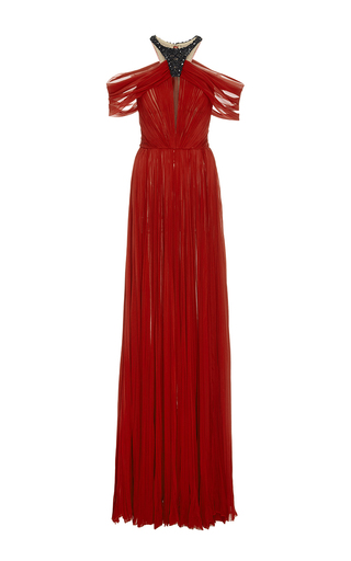 Medium j mendel red embroidered silk chiffon halter gown