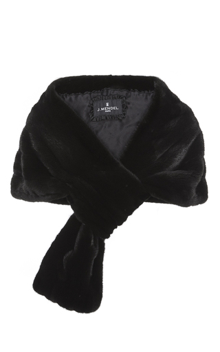 Medium j mendel black classic mink fur pull through stole