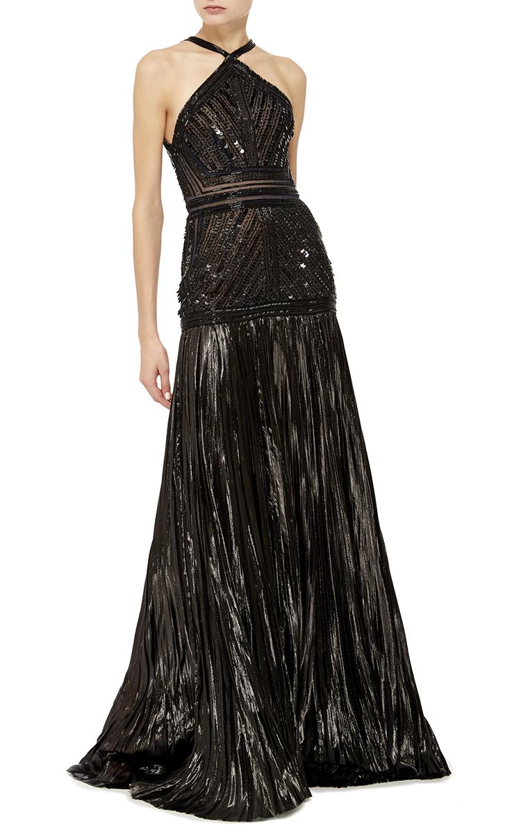 Bugle Beaded Halter Gown by J. Mendel | Moda