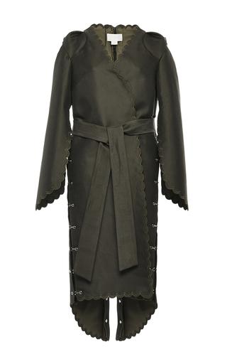 Medium antonio berardi green scalloped wrap coat