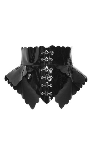 Medium antonio berardi black patent peplum belt