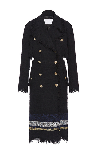 Medium sonia rykiel black striped tweed open back trench coat
