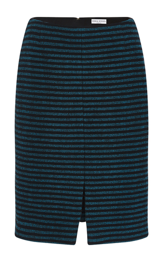 Medium sonia rykiel blue striped wool crepe pencil skirt