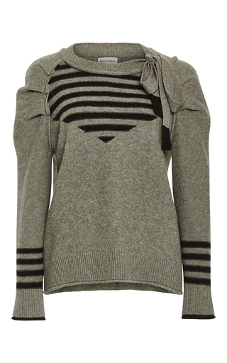 Medium sonia rykiel dark grey wool cashmere pleated sleeves sweater