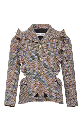 Medium sonia rykiel dark grey tweed ruffled open jacket