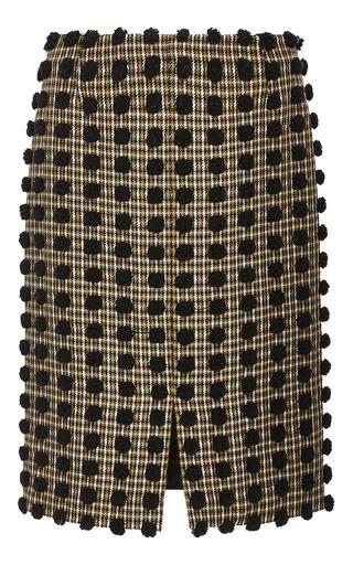 Medium sonia rykiel black pom pom checked wool pencil skirt