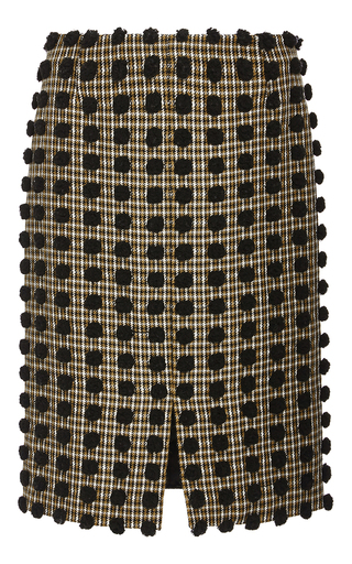 Medium sonia rykiel black pom pom checked wool pencil skirt