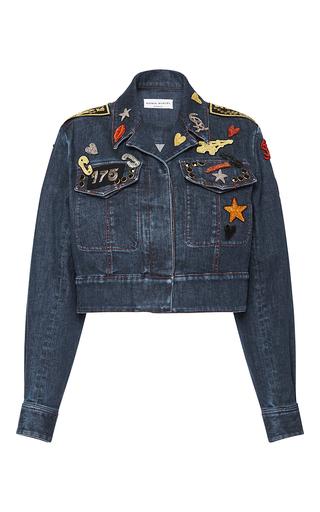Medium sonia rykiel dark wash embroidered patches cropped denim jacket