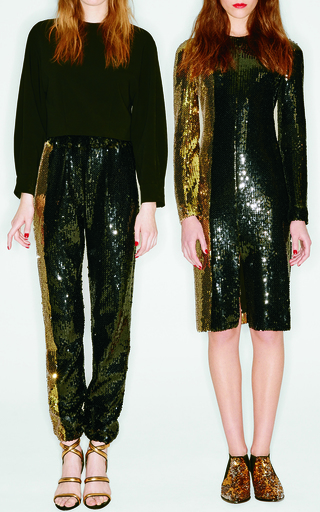 Medium sonia rykiel black bicolor sequin jogging pants