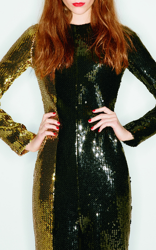 Medium sonia rykiel black bicolor sequin long sleeve dress