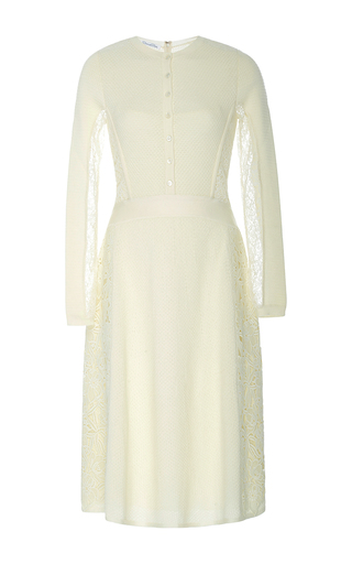 Medium oscar de la renta white lace knit long sleeve dress