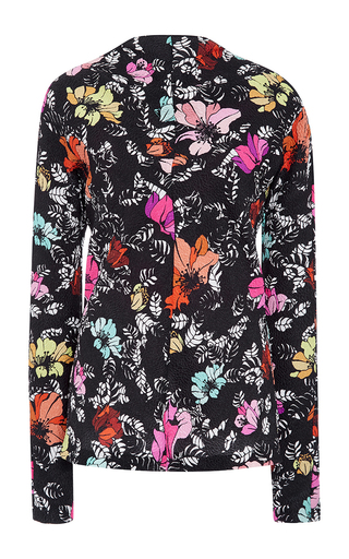 Medium oscar de la renta floral tropical printed silk blouse