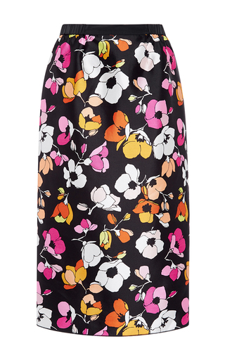 Medium oscar de la renta floral mixed poppy pencil skirt