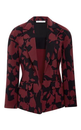 Medium oscar de la renta burgundy floral wool blazer