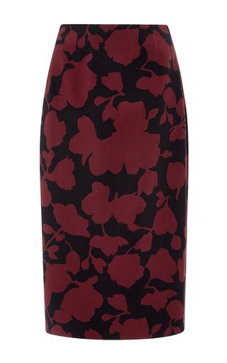 Medium oscar de la renta burgundy floral wool pencil skirt