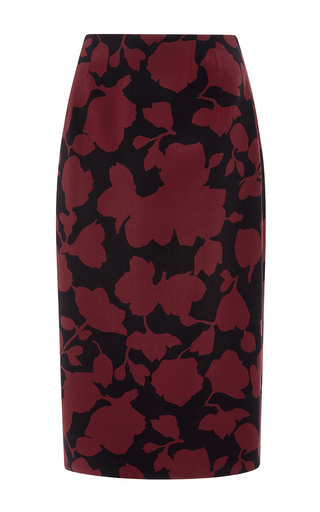Medium oscar de la renta burgundy floral wool pencil skirt