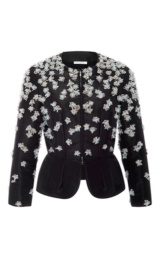 Medium oscar de la renta black embellished peplum jacket