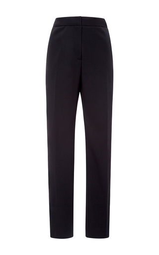 Medium oscar de la renta black stretch wool gabardine slim pant