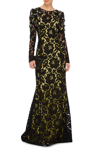 Crystal Embellished Lace Gown by OSCAR DE LA RENTA Now Available on Moda Operandi