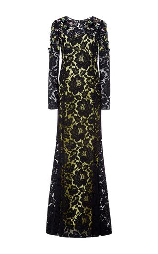 Medium oscar de la renta black crystal embellished lace gown