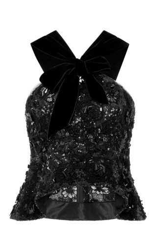 Medium oscar de la renta black embroidered lace and organza blouse