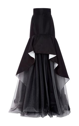 Medium oscar de la renta black silk faille double face skirt