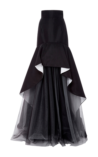 Medium oscar de la renta black silk faille double face skirt