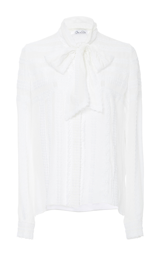 Medium oscar de la renta white tie neck blouse