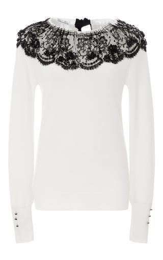 Medium oscar de la renta white lace detailed sweater
