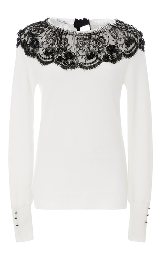 Medium oscar de la renta white lace detailed sweater