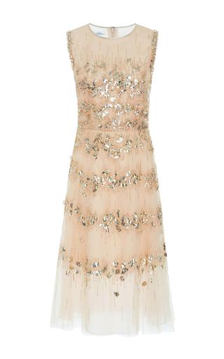Medium oscar de la renta gold embellished tulle cocktail dress