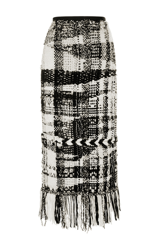 Medium oscar de la renta black white hand loomed knit skirt