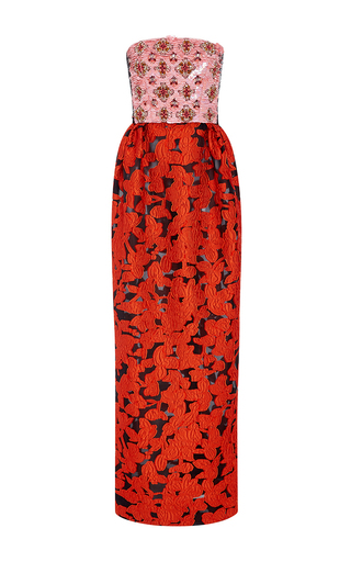 Medium oscar de la renta red paillette and crystal embroidered column gown