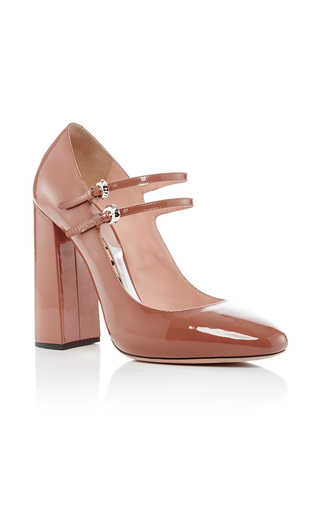 Medium rochas tan enea patent leather mary janes