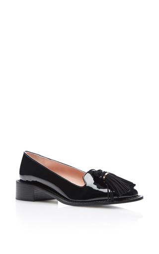 Medium rochas black gallese patent tassel loafers