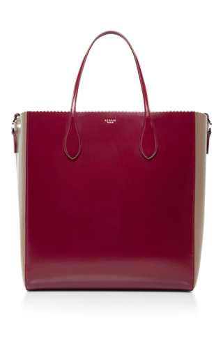 Medium rochas red two toned scallop edged tote