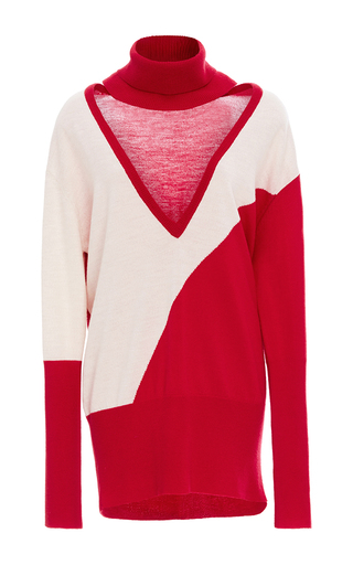 Medium tome red color blocked cutout turtleneck