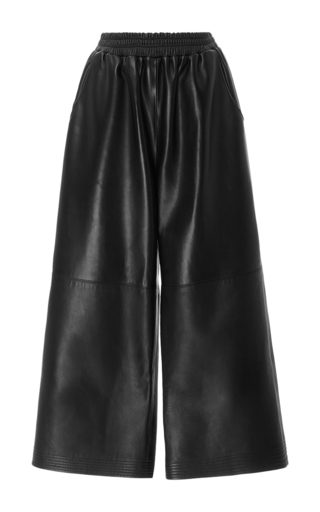 Medium tome black leather culottes